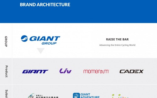Neue Giant Group-Struktur mit dem OE-Bereich unter dem Namen »Raise the Bar - Advancing the entire cycling world«.