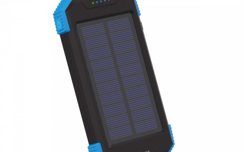 Das Modell »Powerbank Plus Solar Wireless Black/Blue 10000mAh« für kabelloses Laden.