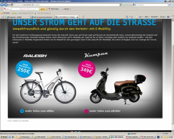 stromanbieter vertreibt e bikes und e roller radmarkt. Black Bedroom Furniture Sets. Home Design Ideas